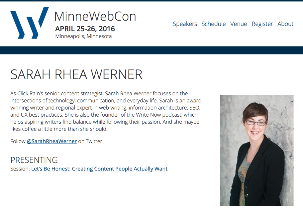 MinneWebCon Speaker Profile: Sarah Rhea Werner