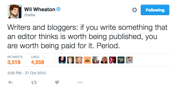 Tweet from Will Wheaton