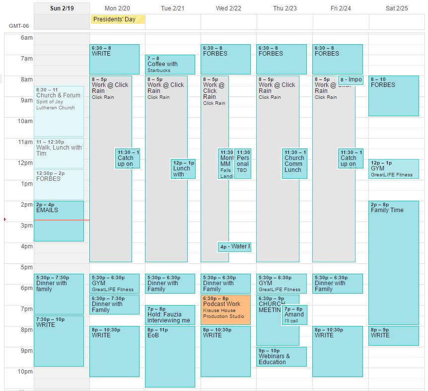Image of Sarah's calendar.
